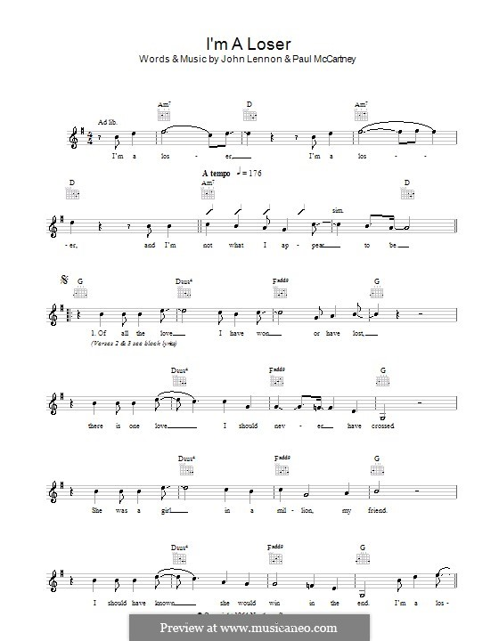 I'm a Loser (The Beatles): Melody line, lyrics and chords by John Lennon, Paul McCartney