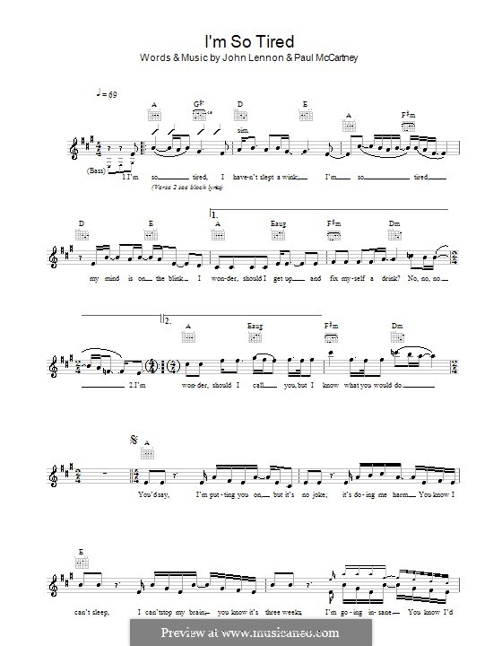 I'm So Tired (The Beatles): Melody line, lyrics and chords by John Lennon, Paul McCartney