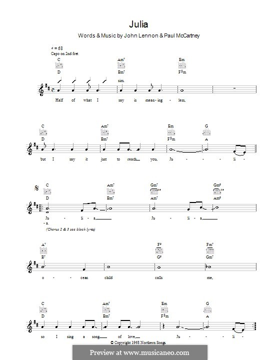 Julia (The Beatles): Melody line, lyrics and chords by John Lennon, Paul McCartney