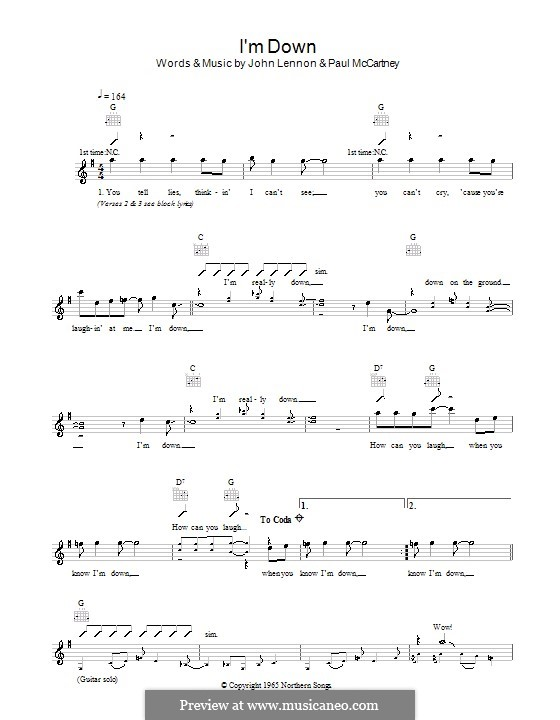 I'm Down (The Beatles): Melody line, lyrics and chords by John Lennon, Paul McCartney
