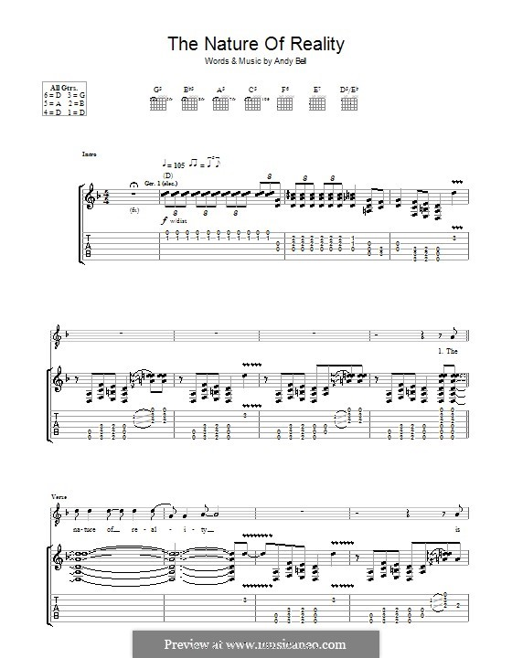 The Nature of Reality (Oasis): For guitar with tab by Andy Bell