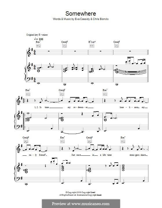 Somewhere (Eva Cassidy): For voice and piano (or guitar) by Chris Biondo