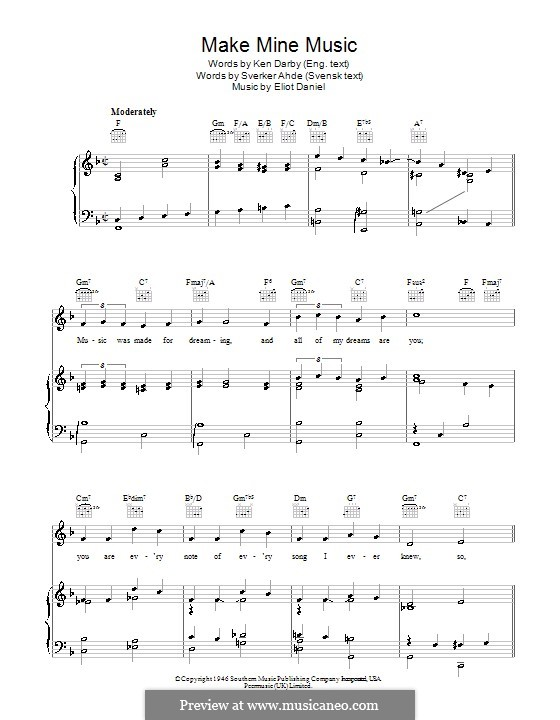 Make Mine Music: For voice and piano (or guitar) by Eliot Daniel