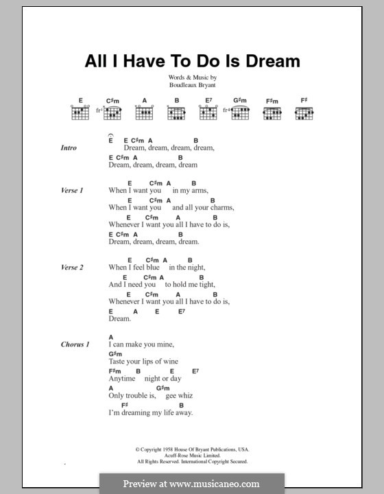 All I Have To Do Is Dream (The Everly Brothers): Lyrics and chords by Boudleaux Bryant