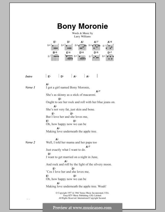 Bony Moronie: Lyrics and chords by Larry E. Williams