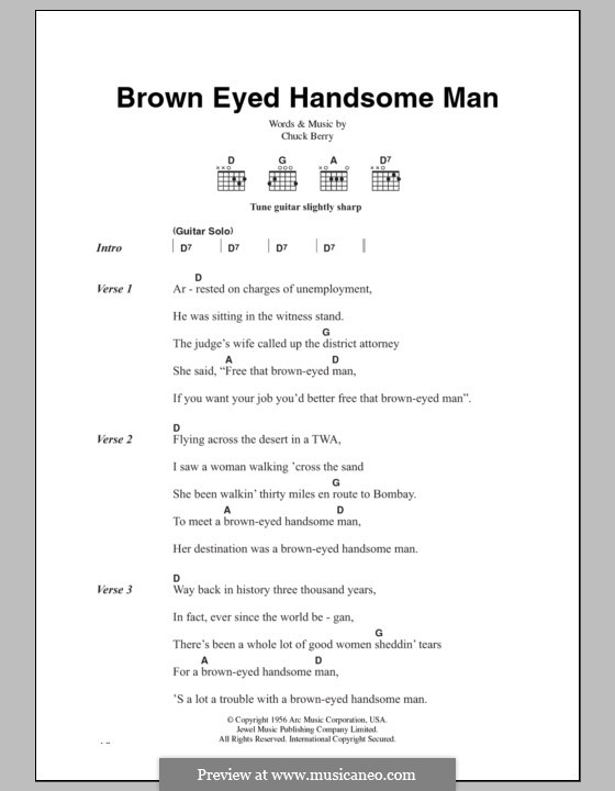 Brown Eyed Handsome Man: Lyrics and chords by Chuck Berry