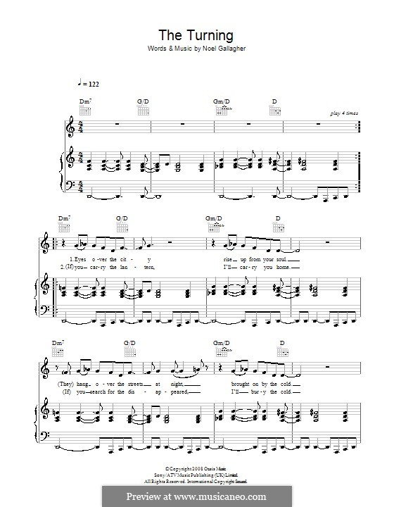 The Turning (Oasis) by N. Gallagher - sheet music on MusicaNeo