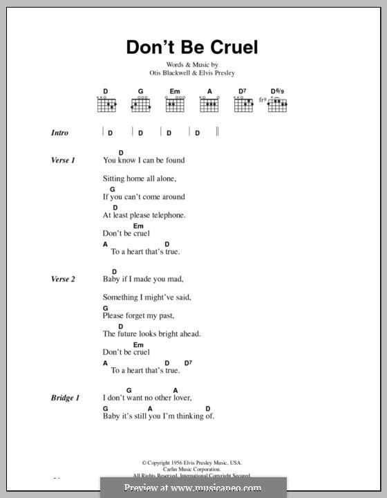 Don't Be Cruel: Lyrics and chords by Elvis Presley, Otis Blackwell