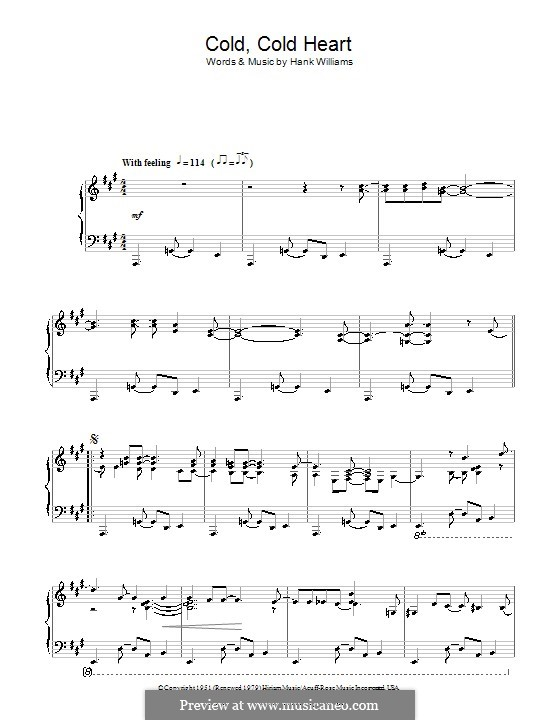 Cold, Cold Heart: For piano by Hank Williams