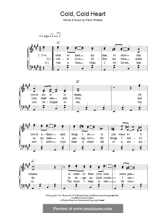 Cold, Cold Heart: For easy piano by Hank Williams