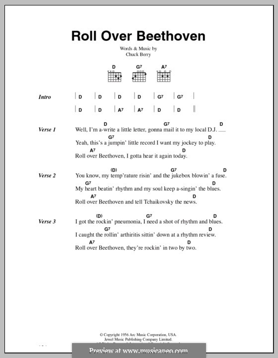 Roll Over Beethoven: Lyrics and chords by Chuck Berry