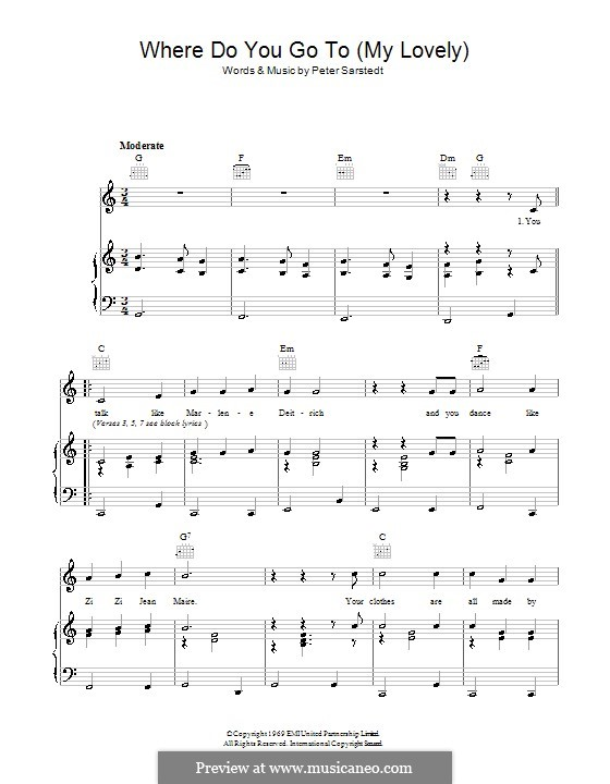 42283c2cee8 Where Do You Go To (My Lovely) by P. Sarstedt - sheet music on MusicaNeo