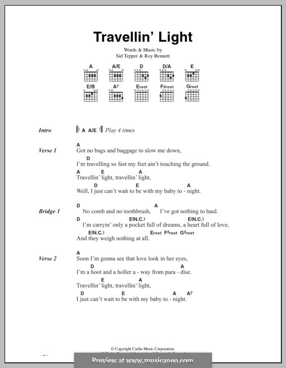 Travellin' Light (Cliff Richard): Lyrics and chords by Roy C. Bennett, Sid Tepper