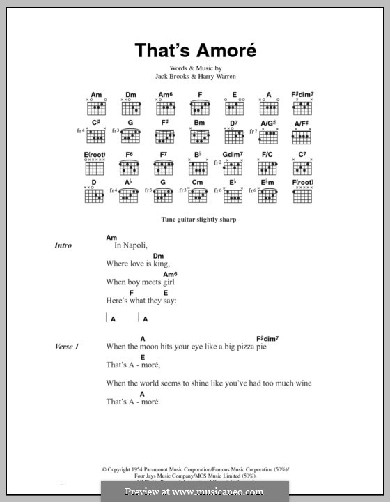 That's Amore (That's Love): Lyrics and chords by Harry Warren