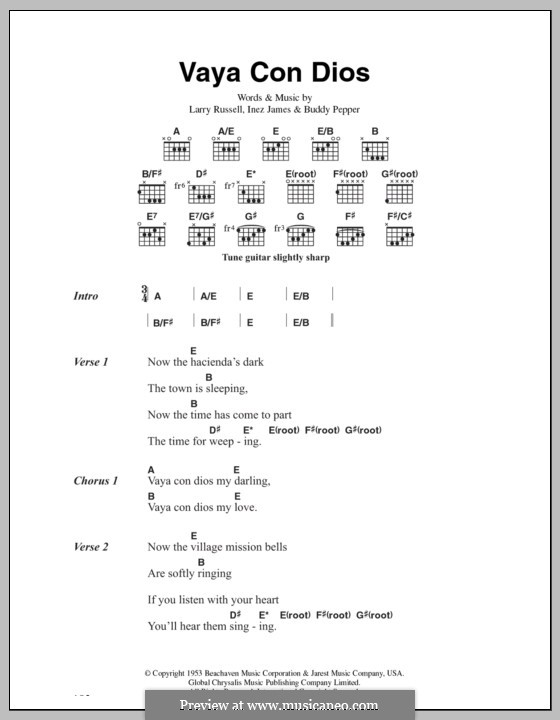 Vaya Con Dios (Les Paul & Mary Ford): Lyrics and chords by Buddy Pepper, Inez James, Larry Russell