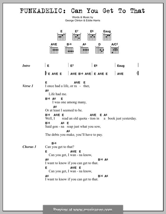 Can You Get to That (Funkadelic): Lyrics and chords by Edward Harris, George Clinton