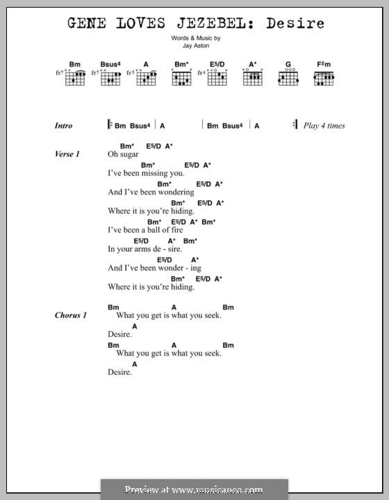 Desire (Gene Loves Jezebel): Lyrics and chords by Jay Aston