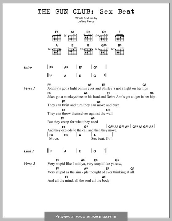 Sex Beat (The Gun Club): Lyrics and chords by Jeffrey Pierce