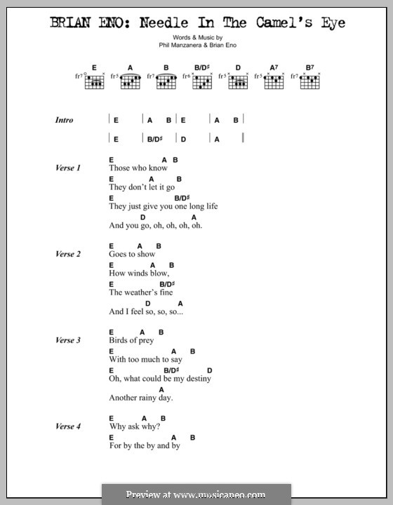 Needle in the Camel's Eye: Lyrics and chords by Phil Manzanera
