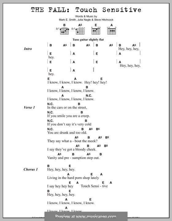 Touch Sensitive (The Fall): Lyrics and chords by Julia Nagle, Mark E. Smith, Steve Hitchcock