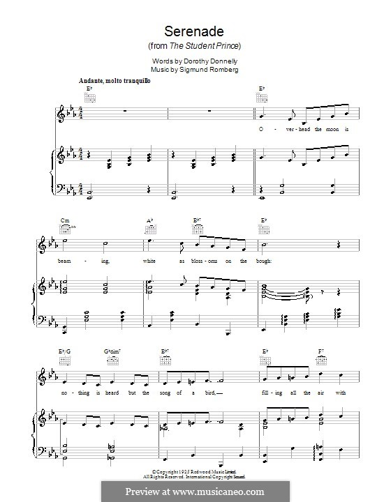 Serenade (from The Student Prince): For voice and piano (or guitar) by Sigmund Romberg