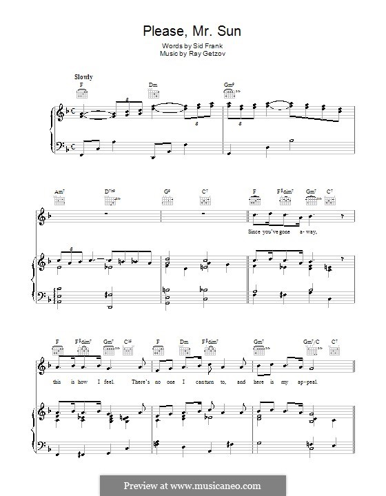Please, Mr. Sun (Perry Como): For voice and piano (or guitar) by Ramon Getzov, Sid Frank