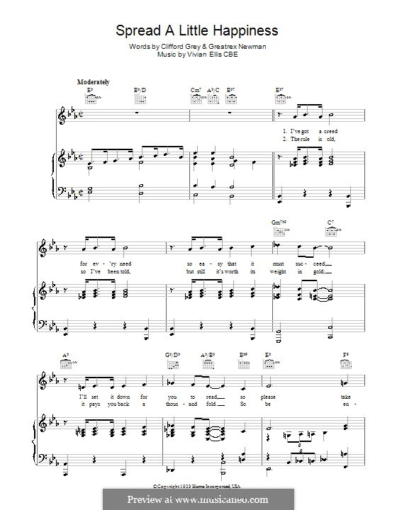 Spread A Little Happiness: For voice and piano (or guitar) by Vivian Ellis