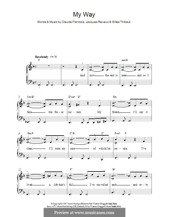 My Way: For easy piano (Frank Sinatra) by Claude Francois, Jacques Revaux