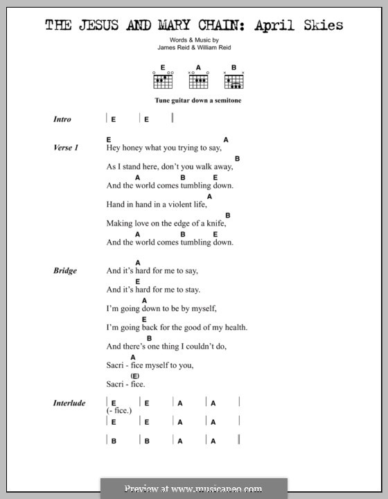 April Skies (The Jesus and Mary Chain): Lyrics and chords by James Reid, William Reid