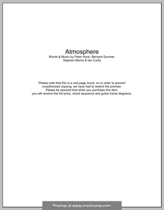 Atmosphere (Joy Division): Lyrics and chords by Bernard Sumner, Ian Curtis, Peter Hook, Stephen Morris