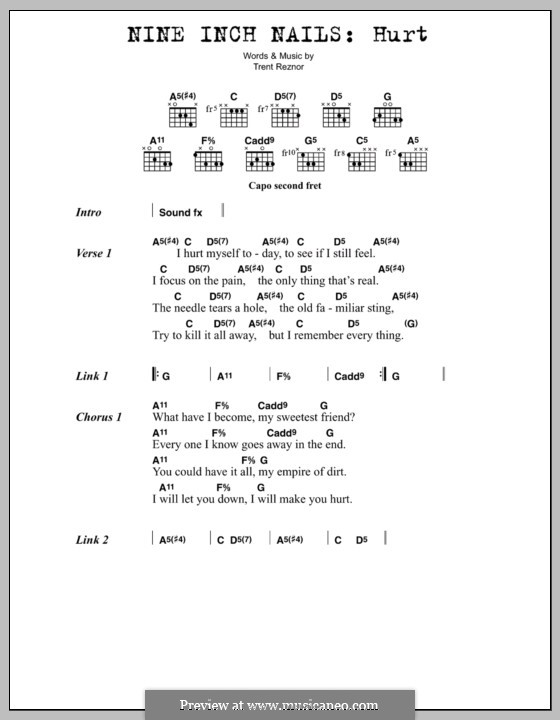 Hurt (Nine Inch Nails): Lyrics and chords by Trent Reznor