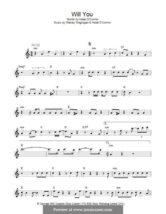 Will You (Hazel O'Connor): For flute by Wesley Magoogan