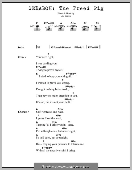 The Freed Pig (Sebadoh): Lyrics and chords by Lou Barlow