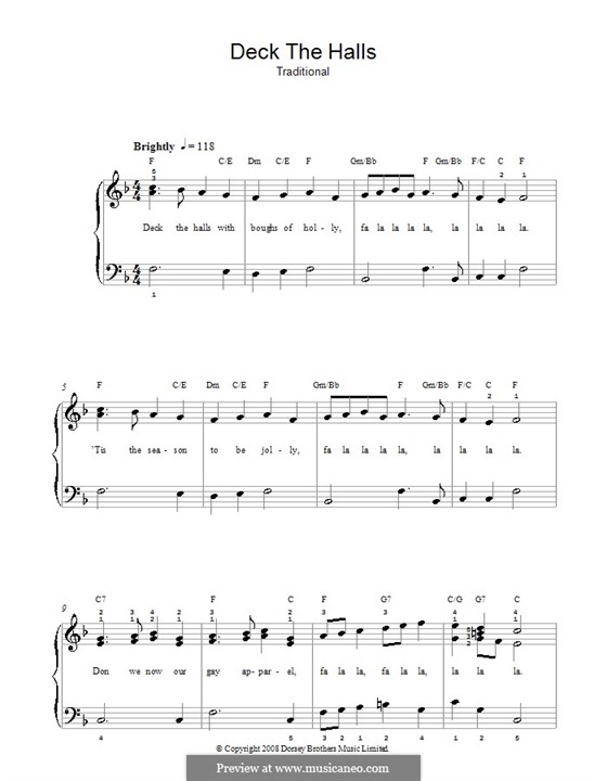 Deck the Hall, for Piano: Easy version by folklore