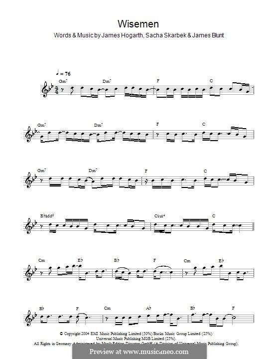 Wisemen: For flute by Jimmy Hogarth, James Blunt, Sacha Skarbek