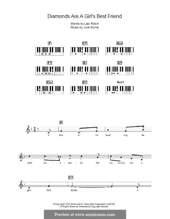 Diamonds are a Girl's Best Friend (Marilyn Monroe): For keyboard by Jule Styne