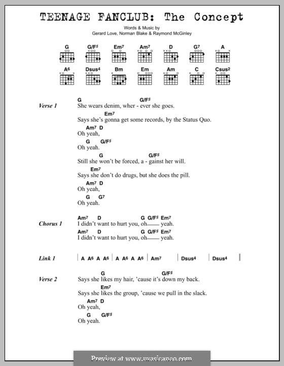 The Concept (Teenage Fanclub): Lyrics and chords by Gerard Love, Norman Blake, Raymond McGinley