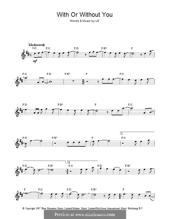 With or without You: For saxophone by U2