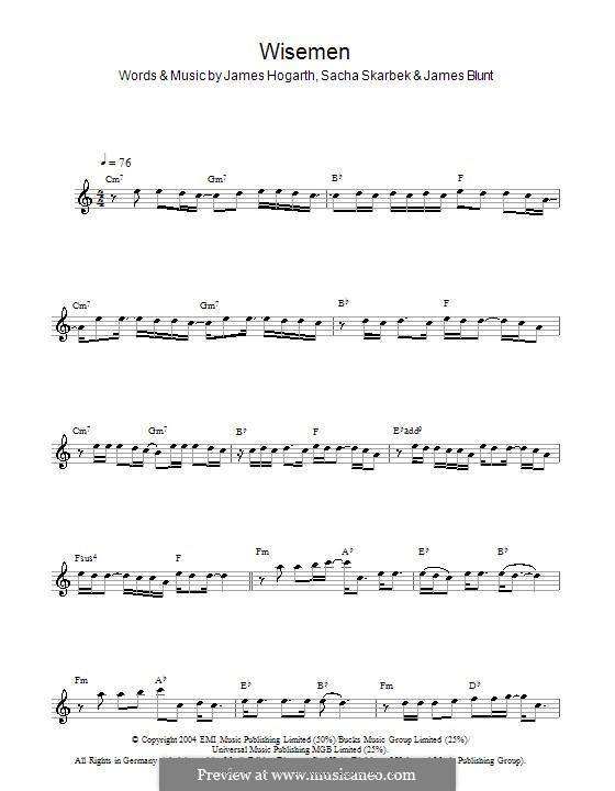Wisemen: For saxophone by Jimmy Hogarth, James Blunt, Sacha Skarbek