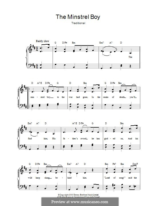 The Minstrel Boy (The Moreen): For voice and piano by folklore