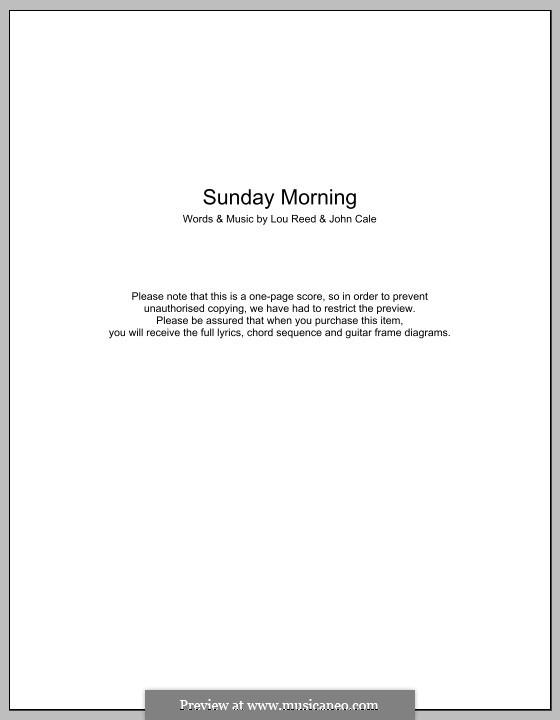 Sunday Morning (The Velvet Underground): Lyrics and chords by John Cale, Lou Reed