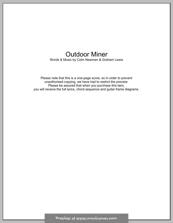 Outdoor Miner (WIRE): Lyrics and chords by Colin Newman, Graham Lewis