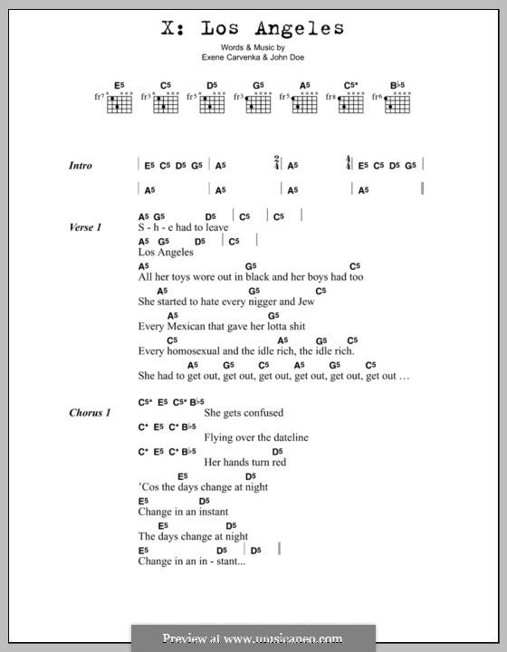 Los Angeles: Lyrics and chords by Exene Carvenka, John Doe