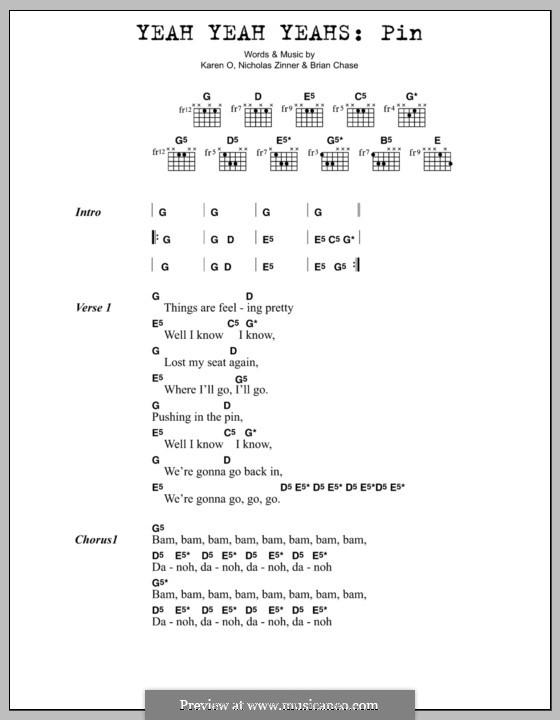 Pin (Yeah Yeah Yeahs): Lyrics and chords by Brian Chase, Karen O, Nicholas Zinner