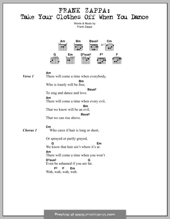 Take Your Clothes Off When You Dance: Lyrics and chords by Frank Zappa