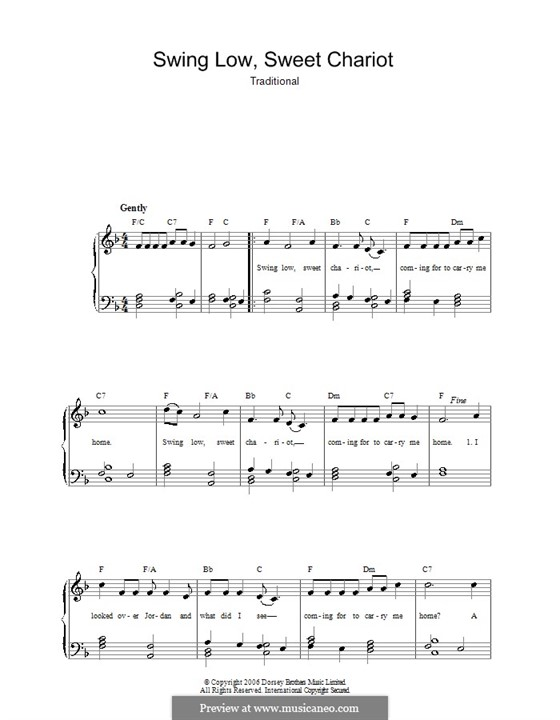 Swing Low, Sweet Chariot: For voice and piano by folklore