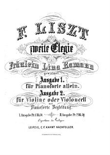 Elegy for Violin (or Cello) and Piano, S.131: Elegy for Violin (or Cello) and Piano by Franz Liszt