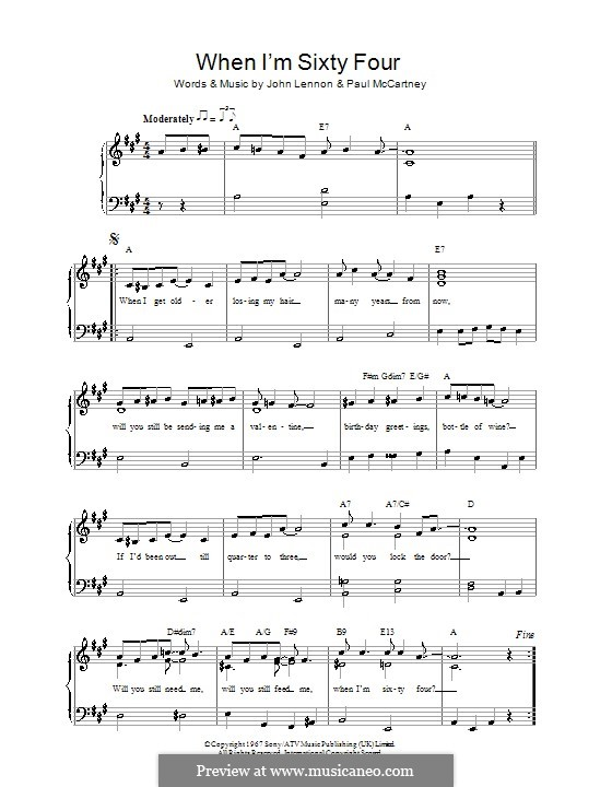 When I'm Sixty-Four (The Beatles): For voice and piano by John Lennon, Paul McCartney