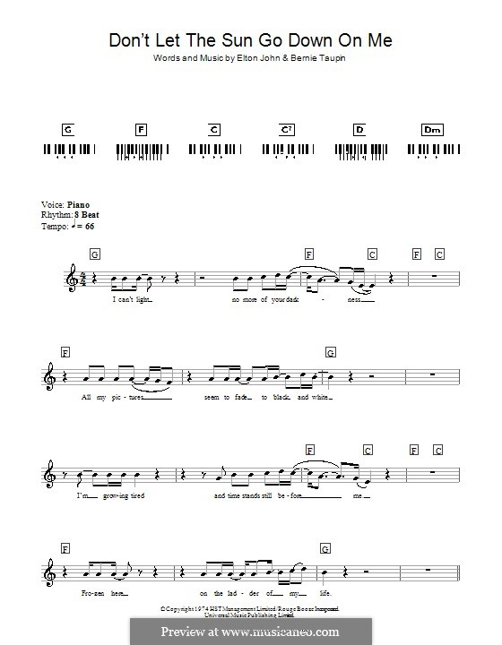 Don't Let the Sun Go Down on Me: For keyboard by Elton John