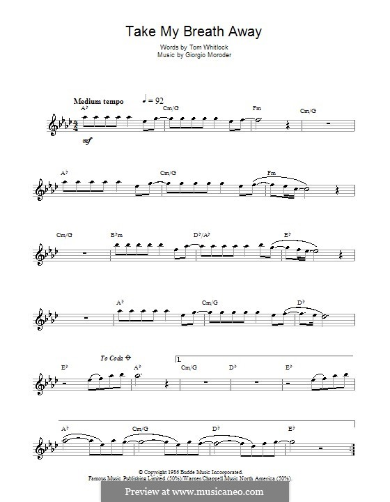 Take My Breath Away (Berlin): For flute by Giorgio Moroder